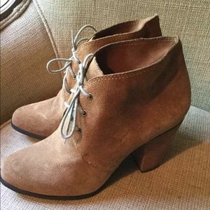 BCBG Generation Tan Suede Lace Up Booties 10 M